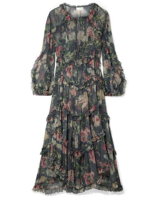 Zimmermann - Gray Iris Ruffled Floral-print Silk-crepon Midi Dress - Lyst