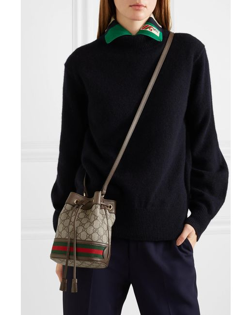 ... Gucci - Brown Ophidia Mini Textured Leather-trimmed Printed  Coated-canvas Bucket Bag ... 3cd8422048