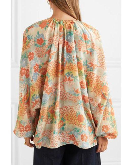 d3a35a2d49ddcc ... Elizabeth and James - Multicolor Chance Printed Silk Blouse - Lyst ...