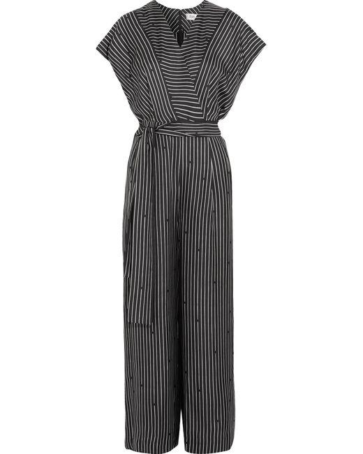 Diane von Furstenberg | Black Printed Silk Jumpsuit | Lyst