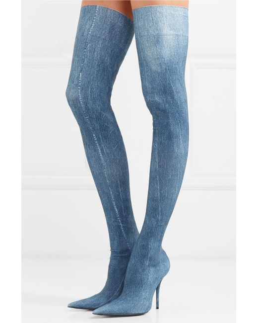 Knife Printed Spandex Thigh Boots - Blue Balenciaga Discount Find Great Buy Cheap From China Amazon Cheap Online Fashion Style Cheap Online Manchester Great Sale Cheap Price wOafari02b