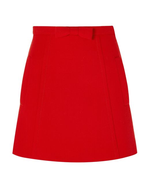 Miu Miu - Red Bow-embellished Wool-crepe Mini Skirt - Lyst
