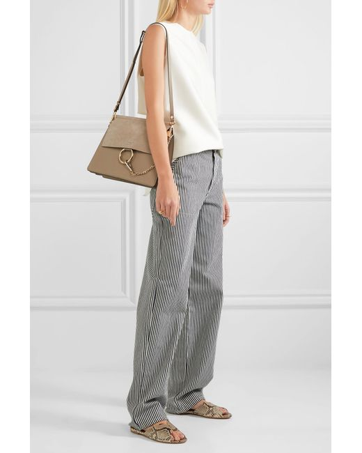 a34e38e37f ... Chloé - Gray Faye Medium Leather And Suede Shoulder Bag - Lyst ...