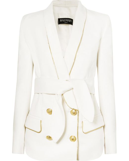 Balmain - White Belted Double-breasted Woven Blazer - Lyst