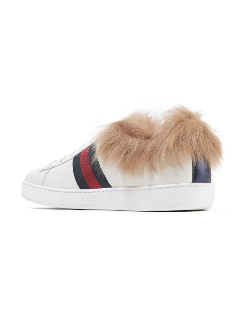 e9dd107a10c ... Gucci - White Ace Shearling-lined Embroidered Leather Sneakers - Lyst  ...