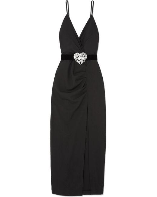 Alessandra Rich - Black Crystal-embellished Ruched Wool-blend Maxi Dress - Lyst
