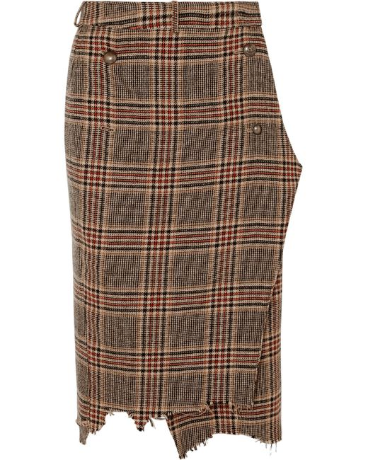 Vetements - Brown Distressed Wool-tweed Wrap Midi Skirt - Lyst