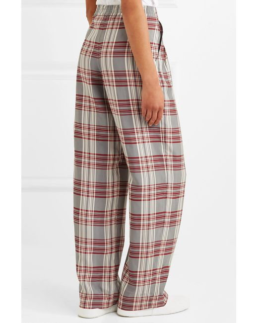 Molly Checked Crepe Trousers - Red Markus Lupfer New Arrival KmhVIk