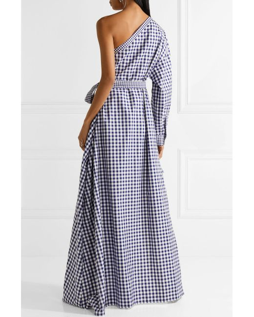 One-shoulder Gingham Cotton Wrap Gown - Royal blue Rosetta Getty OL2DTPX9