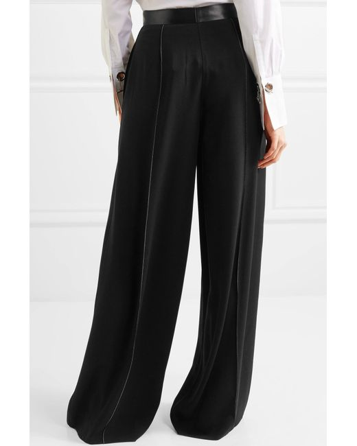 Yuli Satin-trimmed Crepe Wide-leg Pants - Black Elizabeth & James kvPJoj