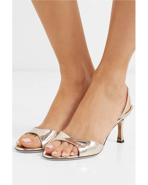 e9f96b11486cf Lyst - Giuseppe Zanotti Metallic Leather Slingback Sandals in Metallic