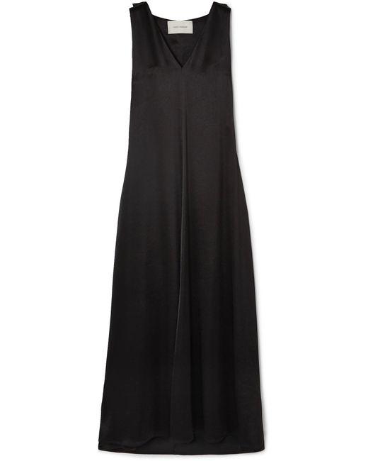 Cedric Charlier - Black Satin Maxi Dress - Lyst