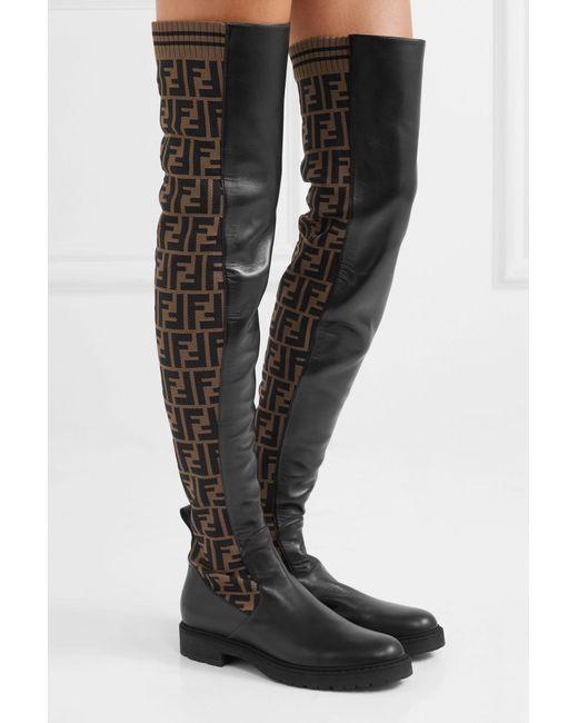 922755a66ea1 ... Fendi - Black Logo-jacquard Stretch-knit And Leather Over-the-knee ...