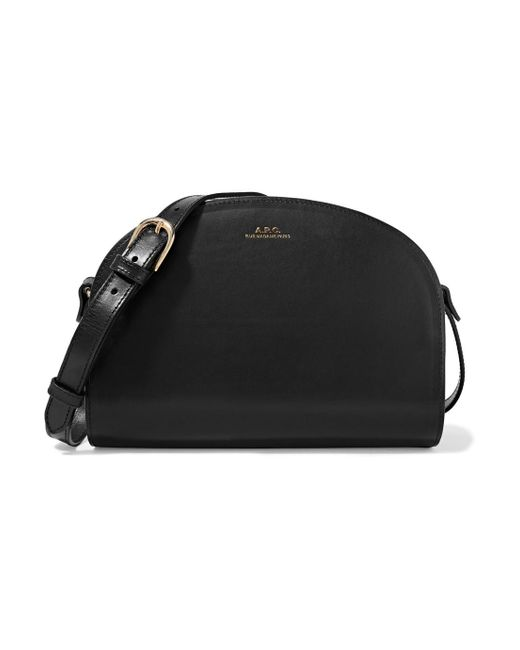 A.P.C. - Black Sac Demi-lune Leather Shoulder Bag - Lyst