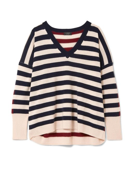 J.Crew | White Rosalyn Striped Cashmere Sweater | Lyst