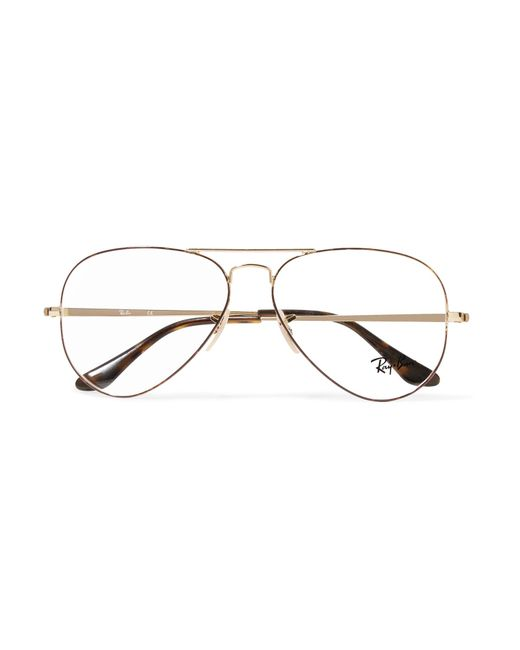 Ray-Ban | Metallic Aviator Gold-tone And Tortoiseshell Acetate Optical Glasses | Lyst