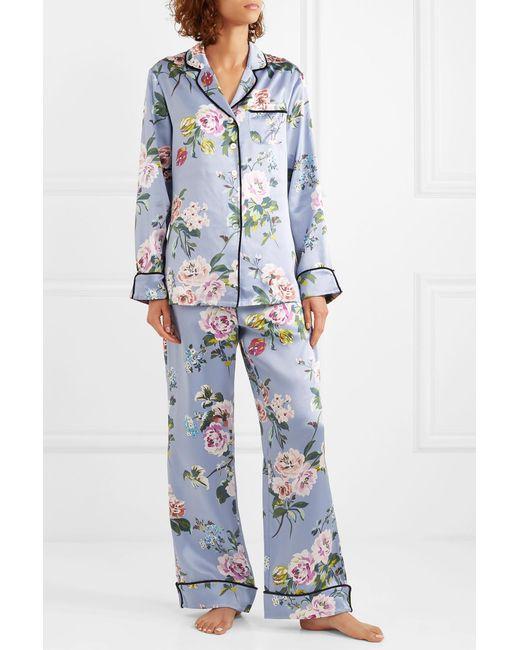 ... Olivia Von Halle - Blue Lila Floral-print Silk-satin Pajama Set - Lyst  ... b1a70dc45
