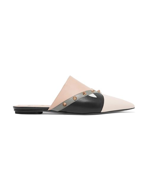 Fendi - Natural Studded Paneled Leather Slippers - Lyst