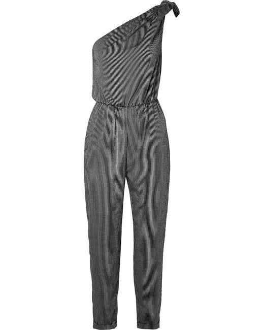 Nanushka - Black Nyla Bow-embellished Striped Voile Jumpsuit - Lyst