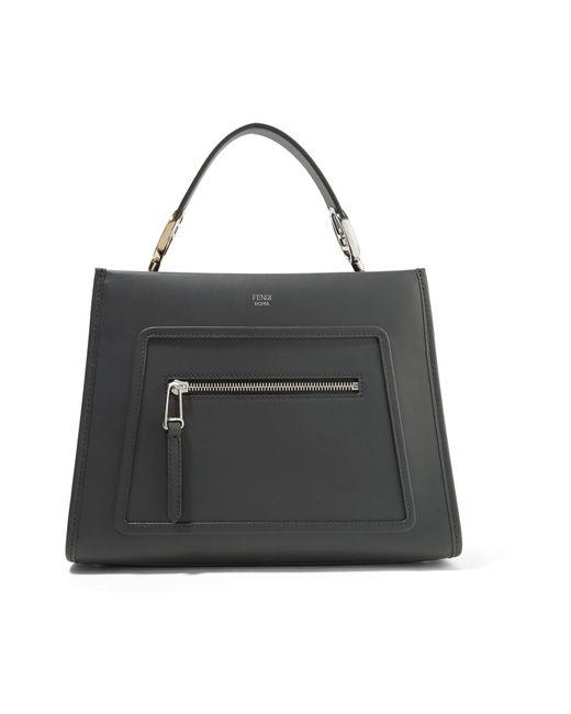 Fendi - Black Runaway Small Leather Tote - Lyst