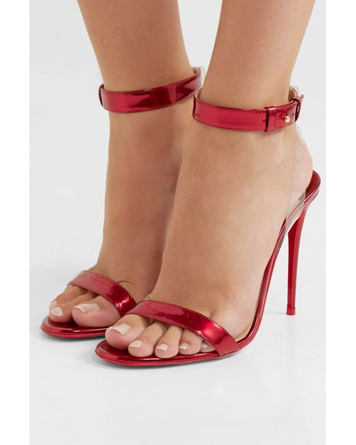 758dce851a34 ... Christian Louboutin - Jonatina 100 Pvc-trimmed Mirrored-leather Sandals  Red It38 - Lyst ...