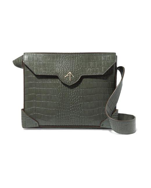 MANU Atelier - Green Bold Large Croc-effect Leather Shoulder Bag - Lyst