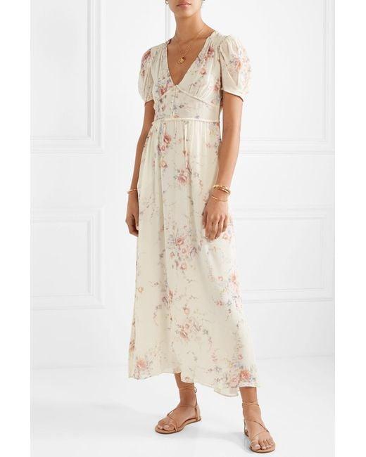 122038b09e ... LoveShackFancy - White Ariel Floral-print Silk-georgette Maxi Dress -  Lyst ...