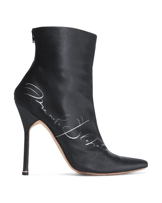 Vetements - Black + Manolo Blahnik Printed Satin Ankle Boots - Lyst
