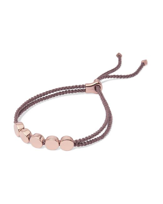 Monica Vinader - Metallic Linear Bead Rose Gold Vermeil And Woven Bracelet - Lyst