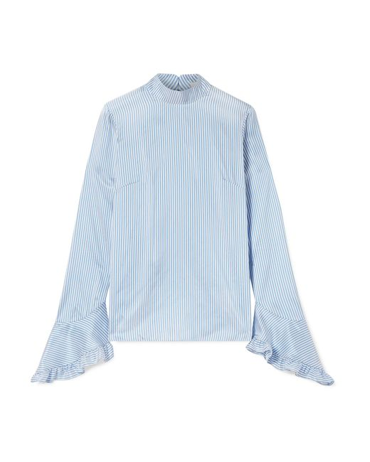 Erdem - Blue Lindsay Ruffle-trimmed Striped Silk Blouse - Lyst