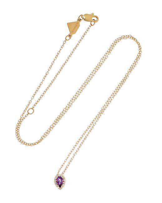 Alison Lou - Metallic 14-karat Gold, Amethyst And Diamond Necklace - Lyst
