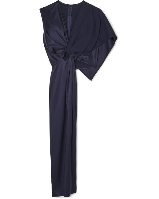 Sid Neigum - Blue Gathered Knotted Satin And Crepe Top - Lyst