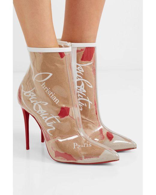 c4fb0dcfc748 ... Christian Louboutin - Natural So Kate 100 Logo-print Pvc Ankle Boots -  Lyst ...