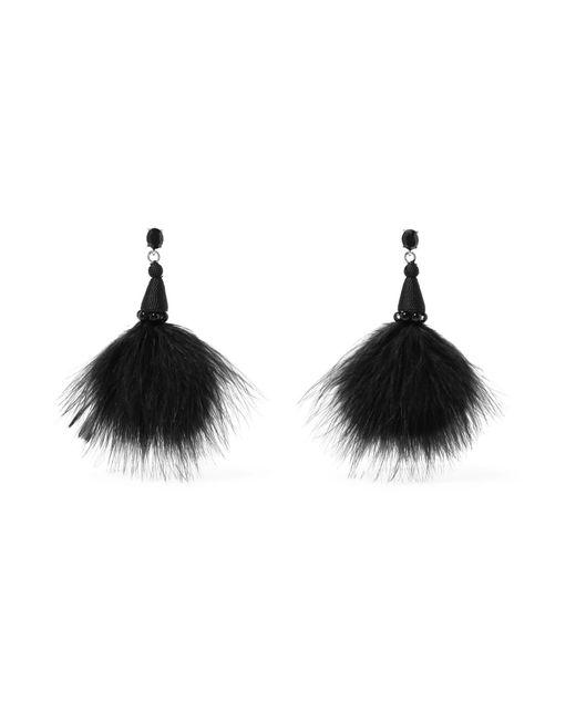 Oscar de la Renta | Black Feather, Crystal And Bead Earrings | Lyst