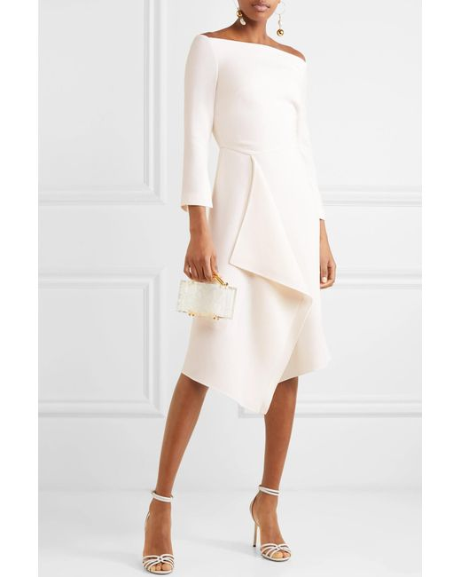 c1a51aa2ff ... Roland Mouret - White Clover Off-the-shoulder Draped Wool-crepe Dress  ...