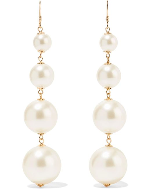 Kenneth Jay Lane | White Gold-plated Faux Pearl Earrings | Lyst