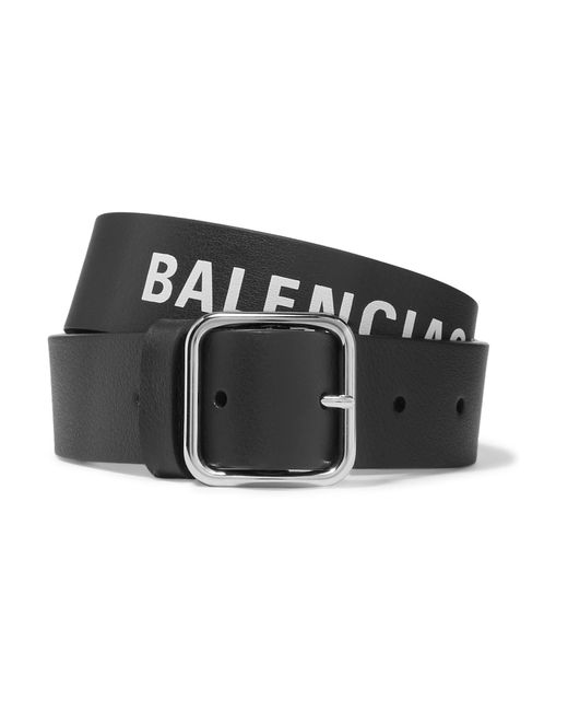 Balenciaga - Black Everyday Printed Textured-leather Belt - Lyst