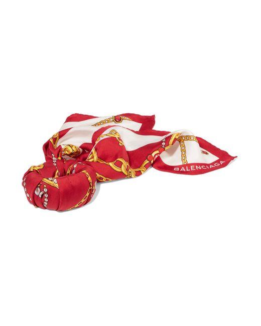 Balenciaga | Red Foulard Printed Silk-twill Bracelet | Lyst