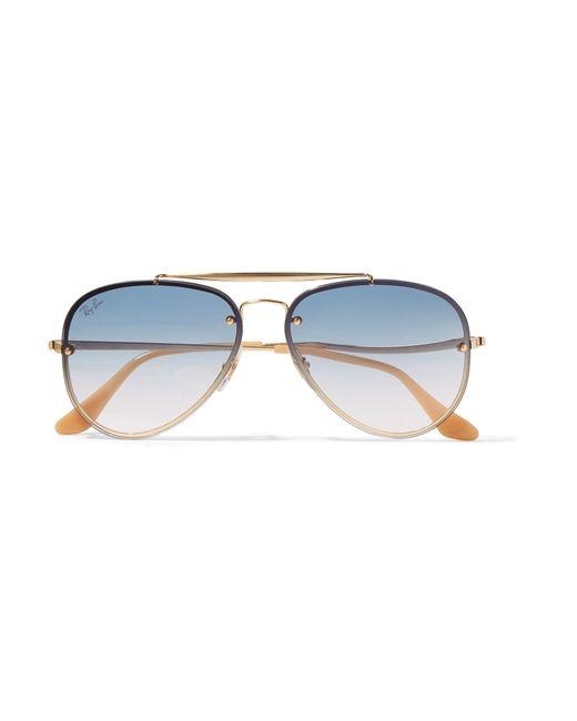 Ray-Ban - Metallic Aviator Gold-tone Sunglasses - Lyst