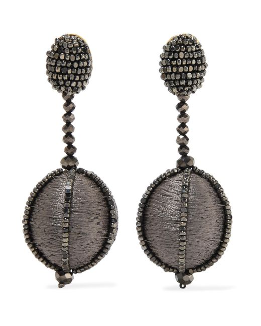 Oscar de la Renta | Gray Silk And Bead Clip Earrings | Lyst