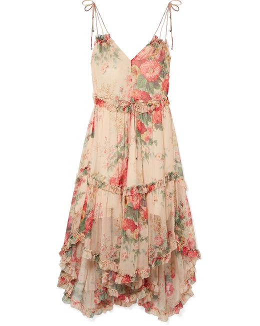 Zimmermann - Pink Laelia Floral-print Silk-crepon Midi Dress - Lyst