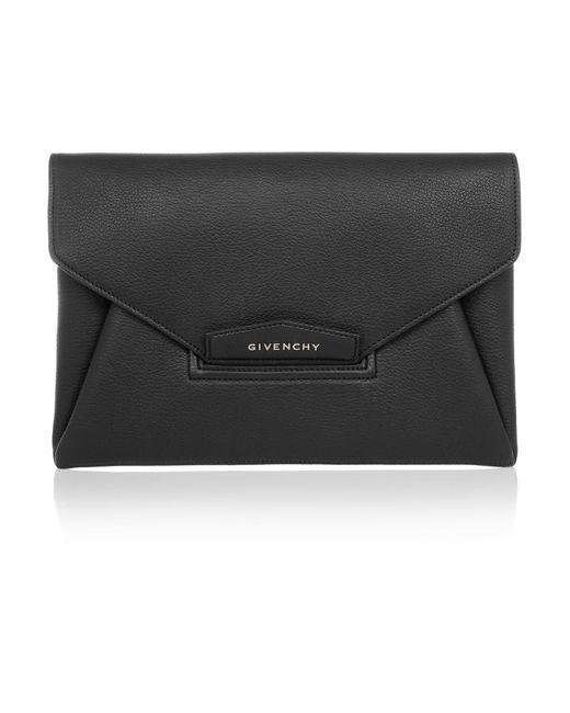 Givenchy   Black 'medium Antigona' Leather Envelope Clutch   Lyst