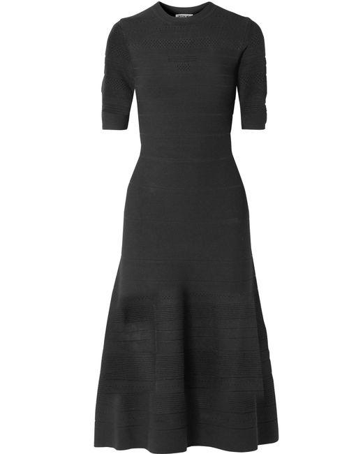 Jason Wu - Black Pointelle-knit Midi Dress - Lyst
