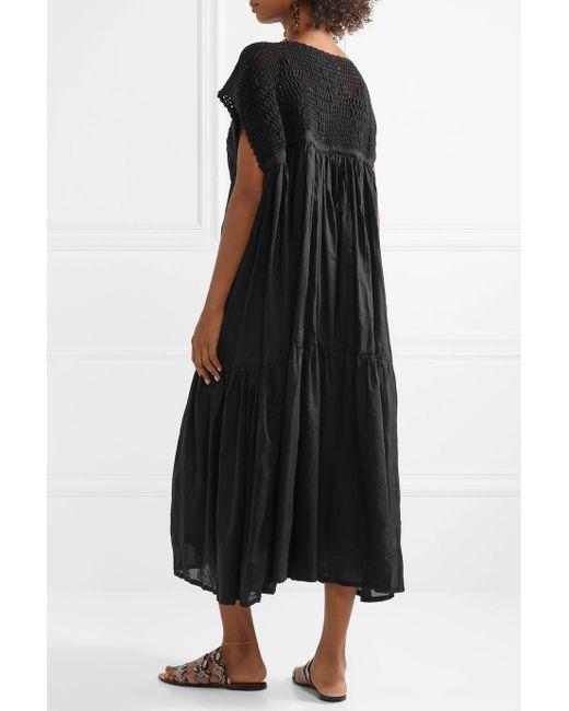 Wind Crochet-knit And Cotton-voile Midi Dress - Black Yvonne Sporre Professional Cheap Price FIk8Fr