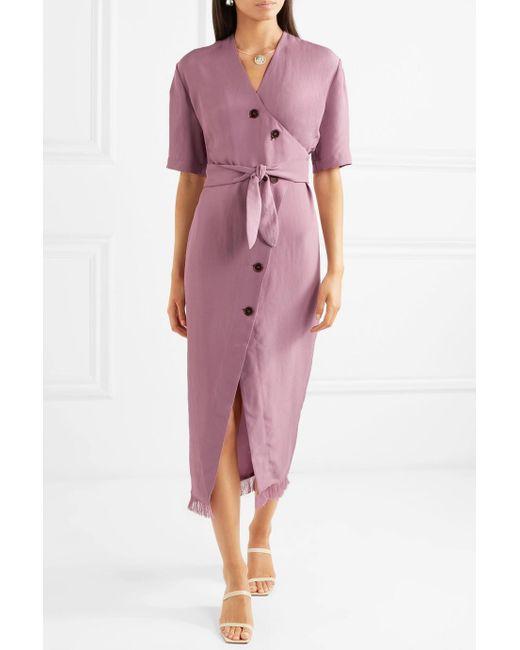 Belted Frayed Satin-twill Midi Dress - Purple Nanushka Browse tFnOGqsGG3