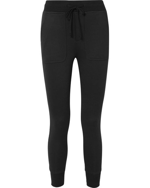 James Perse - Black Cotton-blend Jersey Track Pants - Lyst