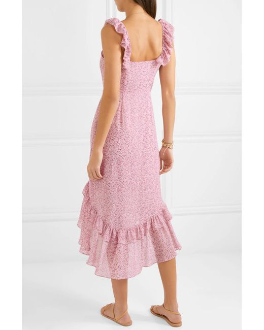 Maeve Ruffled Floral-print Silk-georgette Dress - Baby pink LoveShackFancy u2Tnl4JEFI