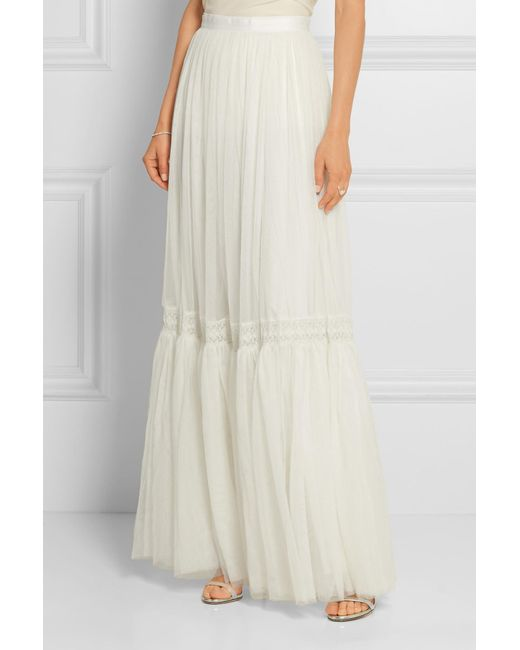 0cd27e35d ... Lyst Needle & Thread - White Bridal Lace-trimmed Tulle Maxi Skirt ...
