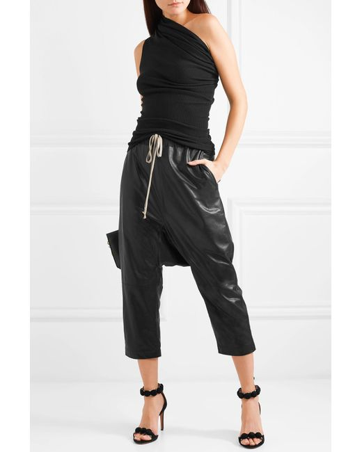 227887adb4061 ... Rick Owens - Black One-shoulder Ruched Ribbed Wool Top - Lyst ...