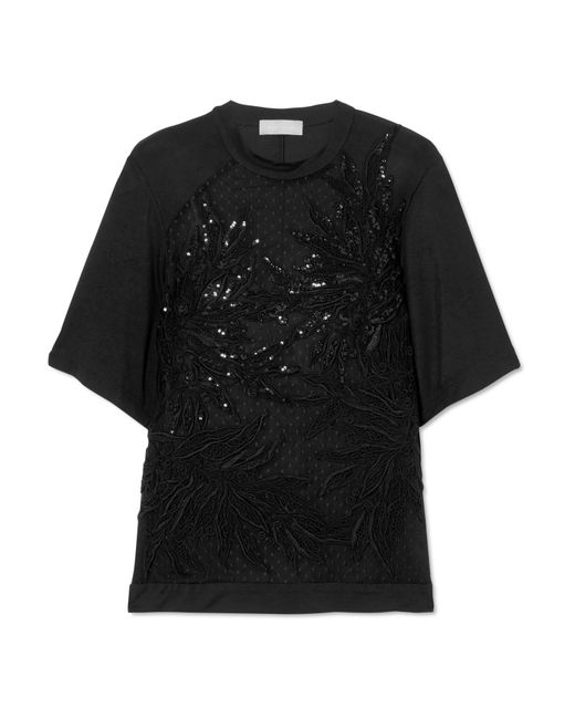 Elie Saab - Black Macramé Lace, Tulle And Jersey Top - Lyst